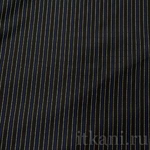 """Ткань Костюмная черная в бело-синюю полоску """"Джедборо"""", узор полоска (0762)"""