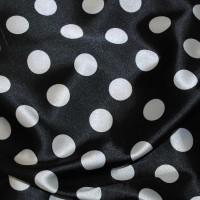 """Ткань Атлас """"Белые горохи на черном"""""""