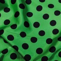 """Ткань Атлас """"Черные горохи на зеленом"""""""