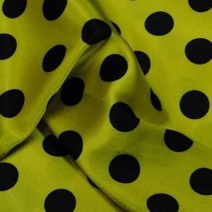"""Ткань Атлас """"Черные горохи на желтом"""" (i1188)"""
