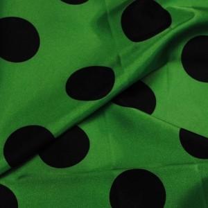 """Ткань Атлас """"Черные горохи на зеленом"""" (крупные) (i1193)"""