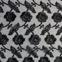 """Ткань Гипюр """"Черные цветы"""""""